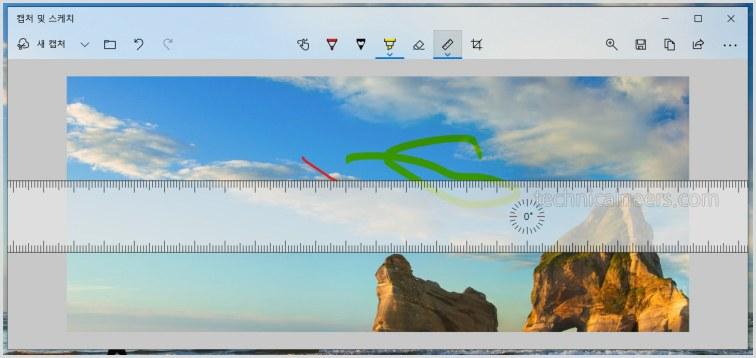 캡쳐 이미지의 측정자 툴