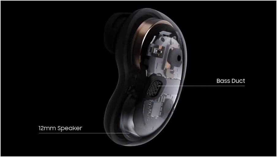갤럭시 버즈 라이브 12mm 스피커와 베이스 덕트