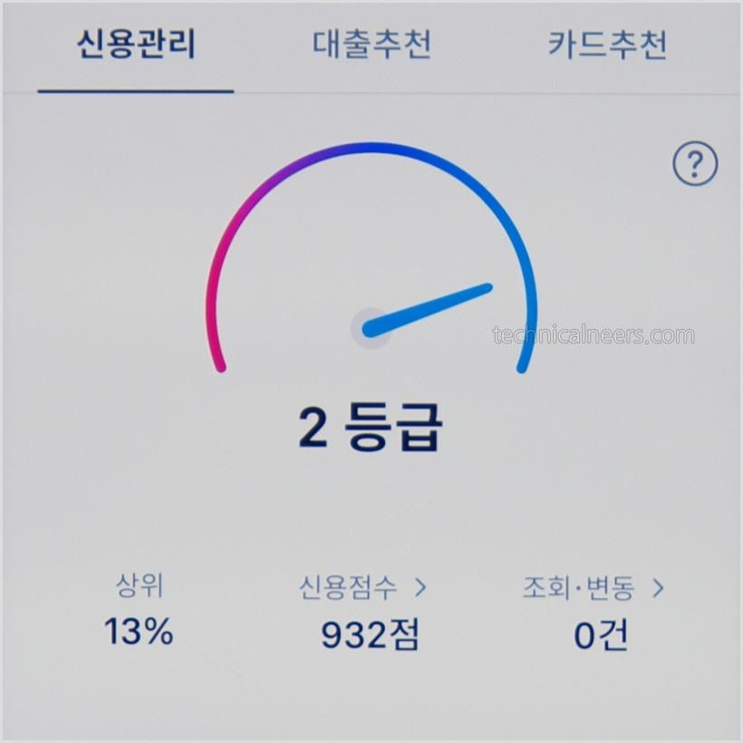 토스 신용등급 점수 조회 결과