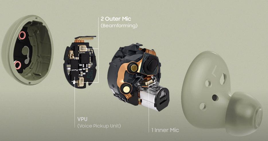 갤럭시 버즈2 내부 구조(VPU, 마이크)